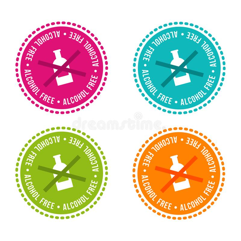 Set of Allergen free Badges. Alcohol free. Vector hand drawn Signs. Can be used for packaging Design. stock illustration