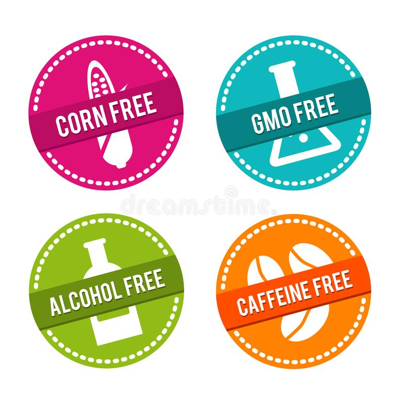Set of Allergen free Badges. Corn free, GMO free, Alcohol free, Caffeine free. Vector hand drawn Signs. Can be used for packaging. Set of Allergen free Badges vector illustration