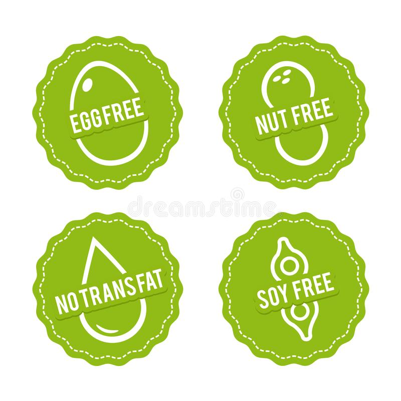 Set of Allergen free Badges. Egg free, Nut free, Soy free, No trans fat. Vector hand drawn Signs. Can be used for packaging Design. Set of Allergen free Badges stock illustration