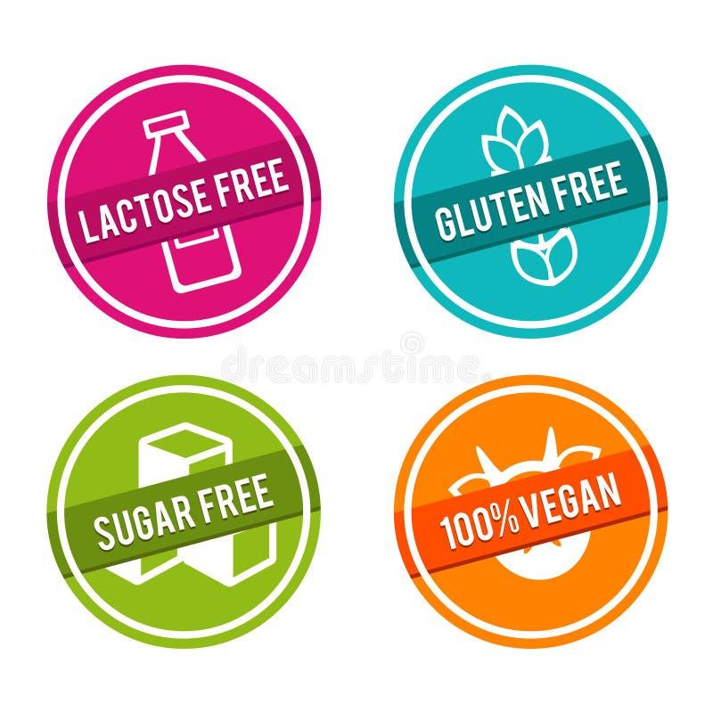 Set of Allergen free Badges. Lactose free, Gluten free, Sugar free, 100% Vegan. Vector hand drawn Signs. royalty free illustration