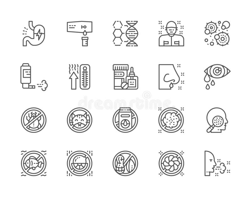 Set of Allergy and Allergens Line Icons. Patient, Thermometer, Microbes and more royalty free illustration