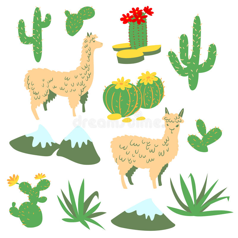 Set with alpaca and cactus. Set with alpaca - south america`s lama. Collection with lama and cactus in cartoon style. Vector floral illustration royalty free illustration