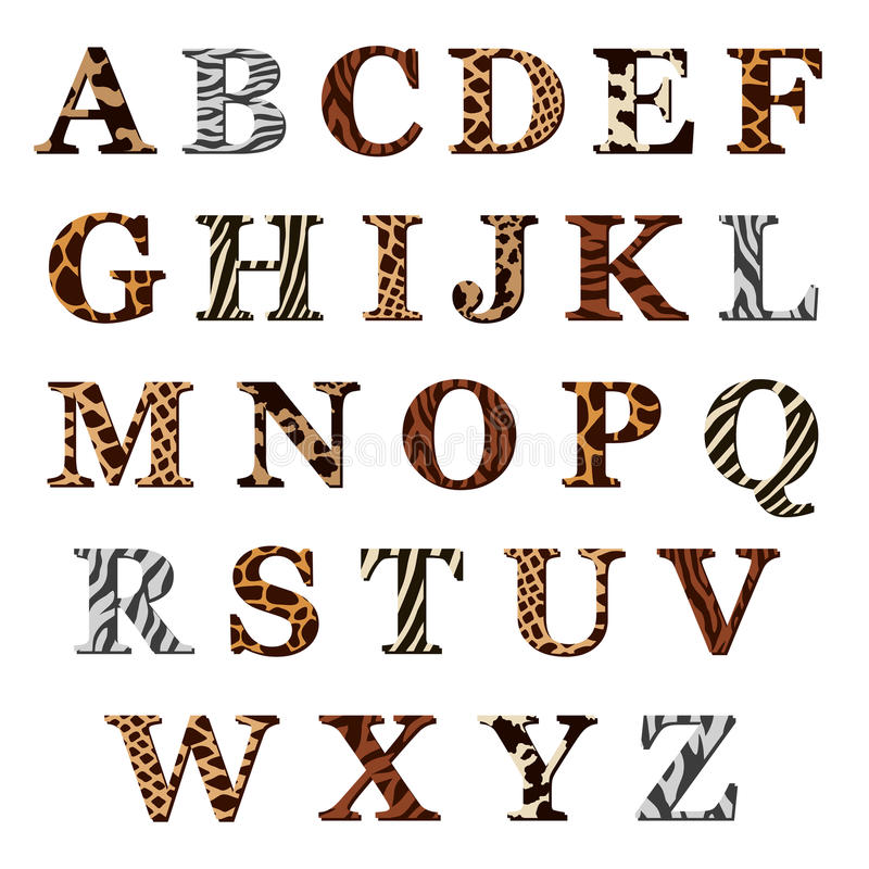 Set of alphabet letters with animal fur patterns. Complete set of colored ornamental uppercase alphabet letters with assorted animal skin or fur patterns in royalty free illustration