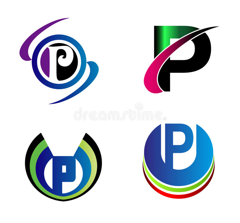 Set Of Alphabet Symbols And Elements Of Letter P Such A Logo Stock