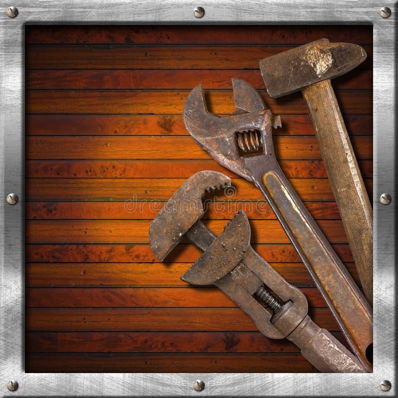 Download Set Alte Hilfsmittel Auf Hölzernem Panel Stockfoto - Bild von schwer, konzept: 26355134