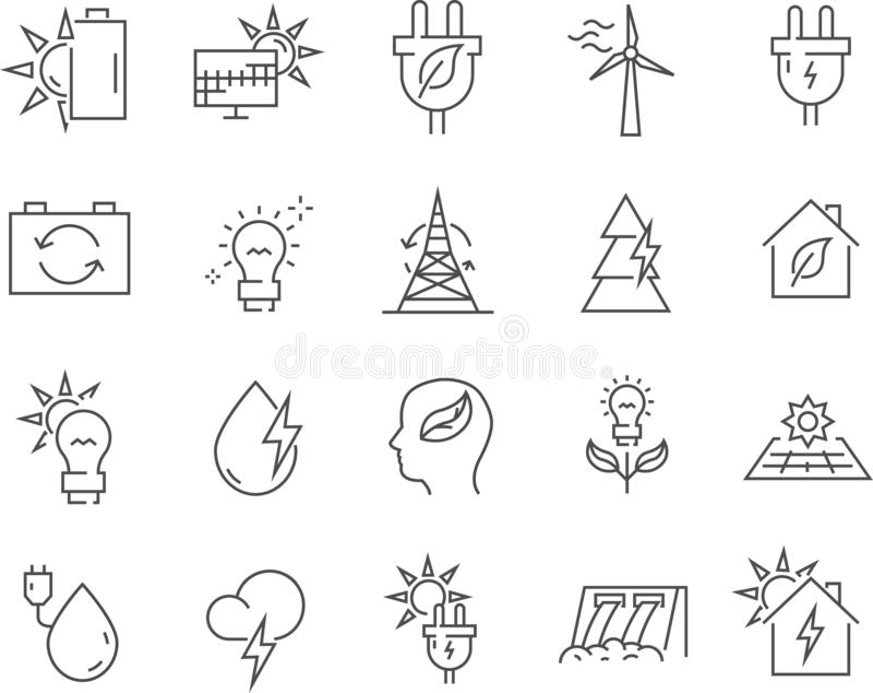 Set of alternative energy line vector icons. royalty free illustration