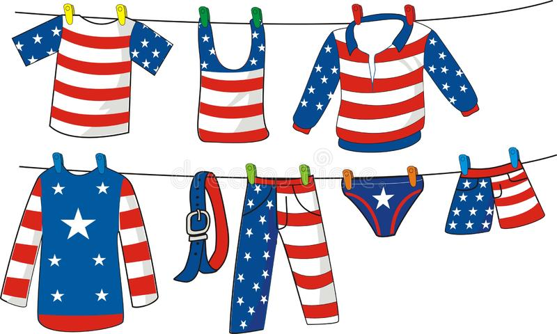 Some clothes with american flag motif hanging on clothesline. Illustration stock illustration