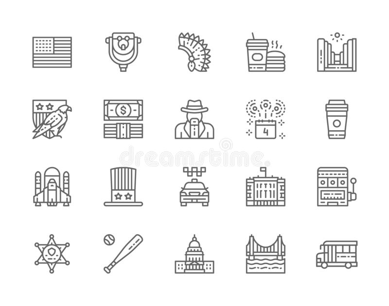 Set of American Culture Line Icons. Bald Eagle, Dollar, Cowboys, Casino and more. Set of American Culture Line Icons. Bald Eagle, Dollars, Cowboys, School Bus stock illustration