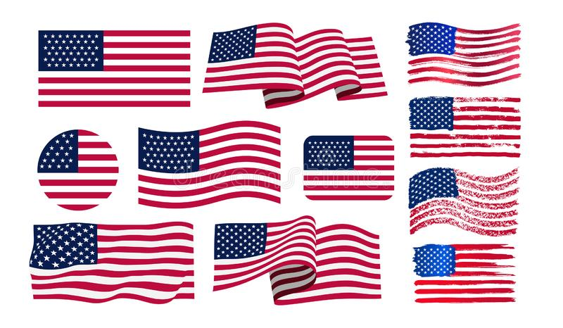 Set of American flag. Icon grunge American flag. Watercolor flag of USA. Print. Vector illustration. Isolated on white background royalty free illustration