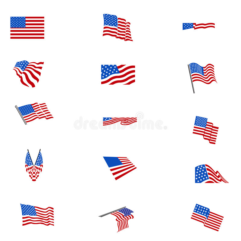 Set of american flags FLAG. Full set in colours of american flags, in vectorial format