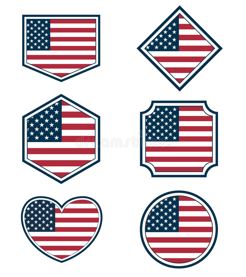 Set of American flags and hearts3 stock illustration