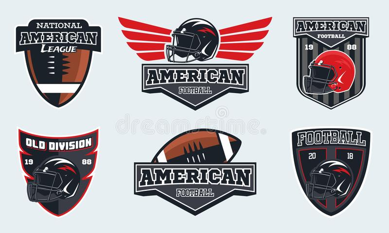 Set of american football emblems, labels and logo. Football helmet and ball vector illustration