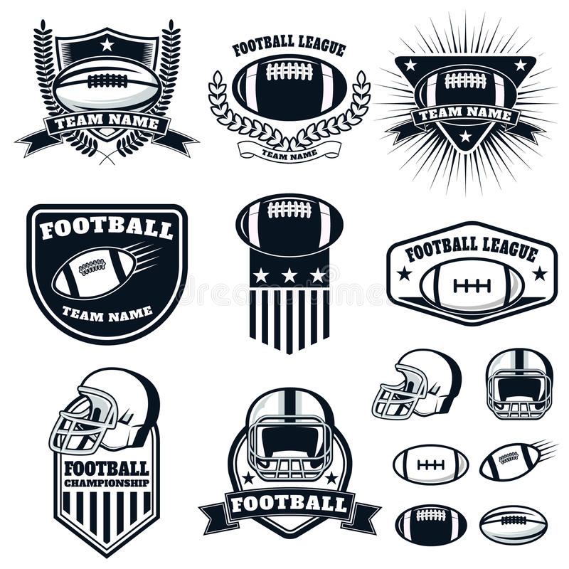 Set of the american football labels, emblems and design elements vector illustration