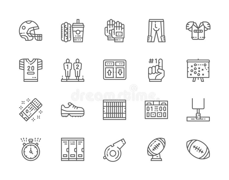 Set of American Football Line Icons. Scoreboard, Fast Food, Uniform and more. Set of American Football Line Icons. Game Scoreboard, Fast Food, Sports Uniform stock illustration