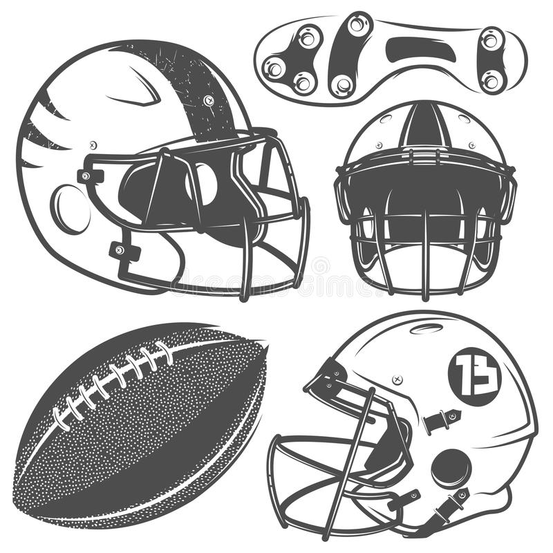 Set of American football monochrome style for emblems ,logo and labels. Black royalty free illustration