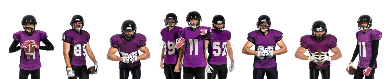 Set of American football players in uniform with balls. On white background royalty free stock image
