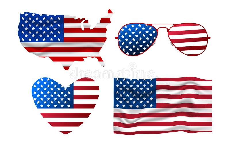 Set of American Icon. Sunglasses, Flag, Heart, Map. Happy 4 th July and Independence Day. Cartoon Vector illustration.  royalty free illustration