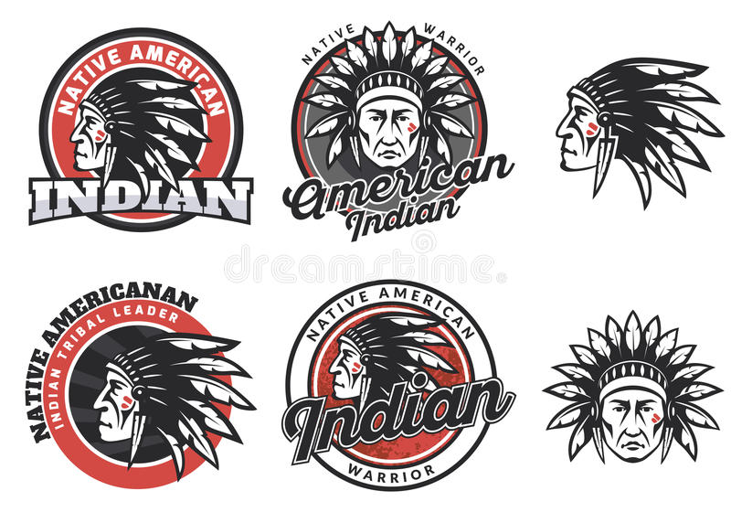 Set of american indian round logo. stock illustration
