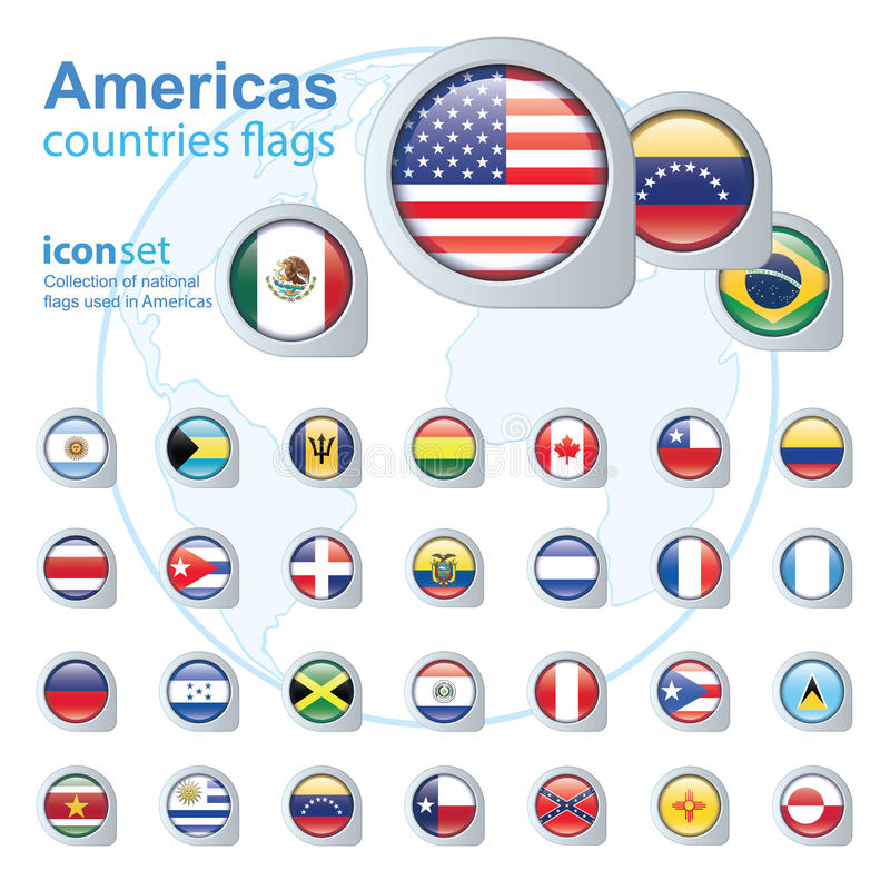 Set of Americas flags, vector illustration. stock illustration
