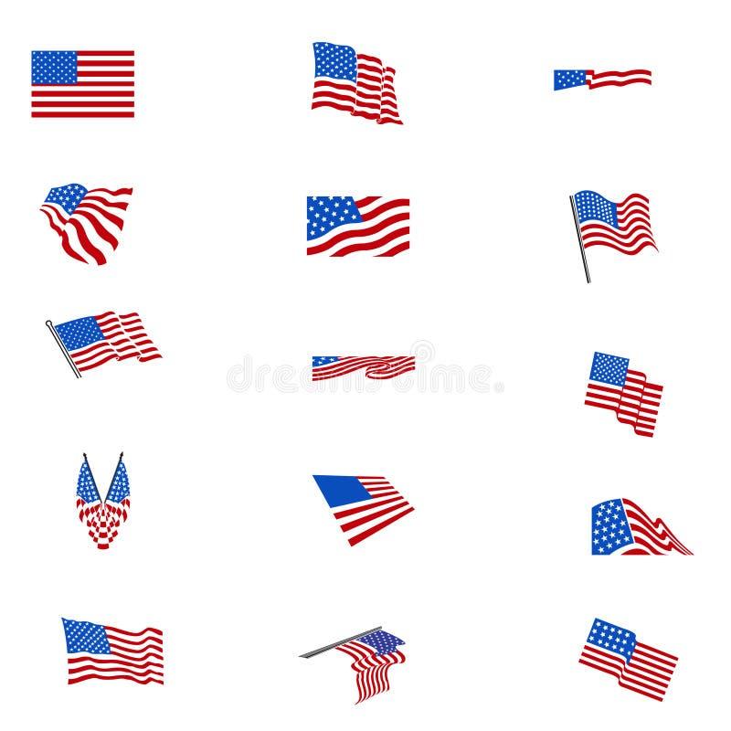 Set amerikanische Flaggen lizenzfreie abbildung