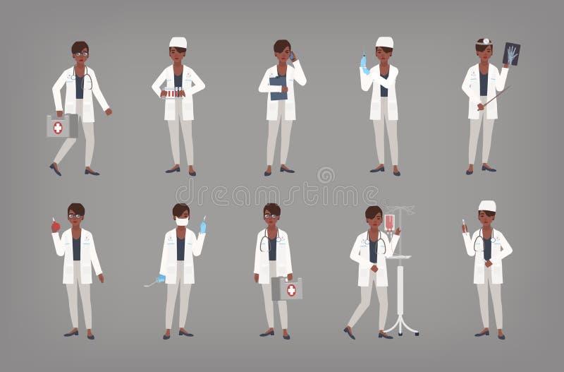 Set amerykanin afrykańskiego pochodzenia kobiety lekarki, lekarza lub chirurga pozycja w różnorodnych pozycjach, Plik murzynka we ilustracji