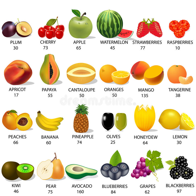 Download Set Amount Calories In Fruit On White Stock Vector - Illustration: 26416147