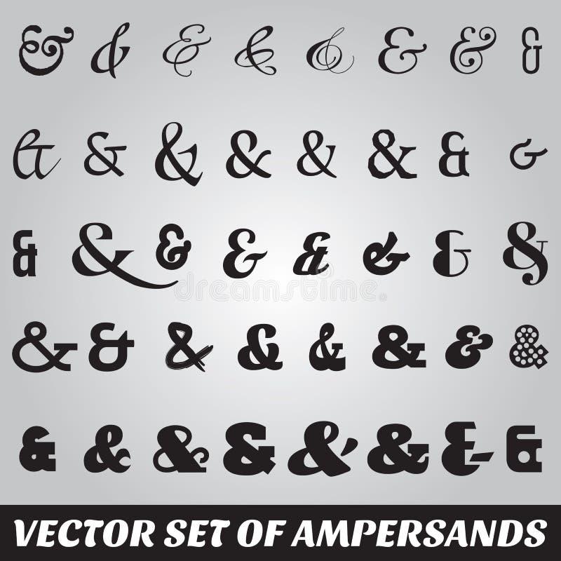 Set of ampersands from different fonts. Vector set of ampersands from different fonts royalty free illustration