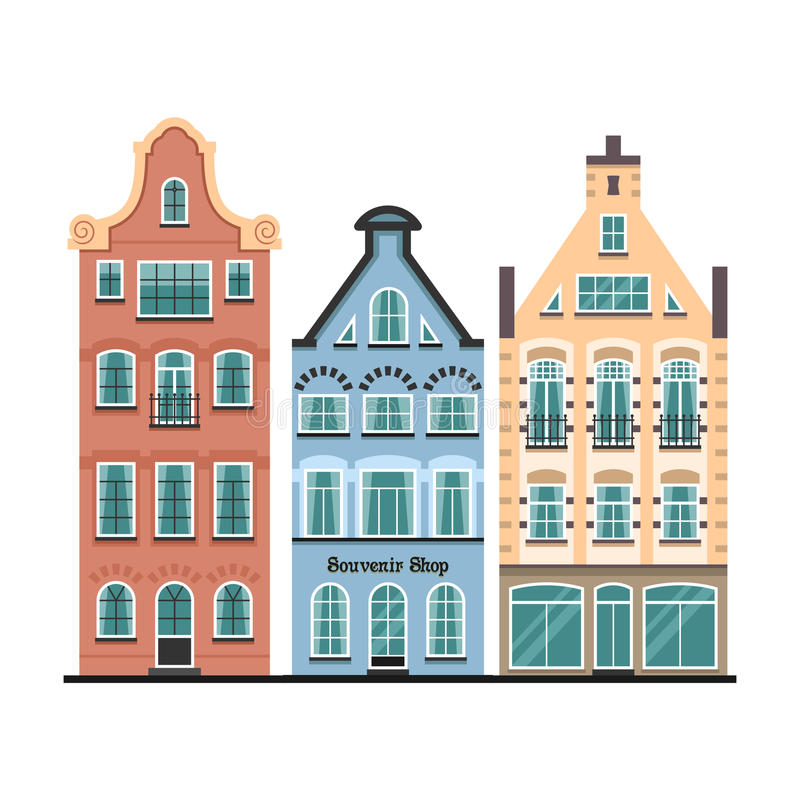 Set of 3 Amsterdam old houses cartoon facades. Traditional architecture of Netherlands. Colorful flat isolated illustrations in the Dutch style royalty free illustration