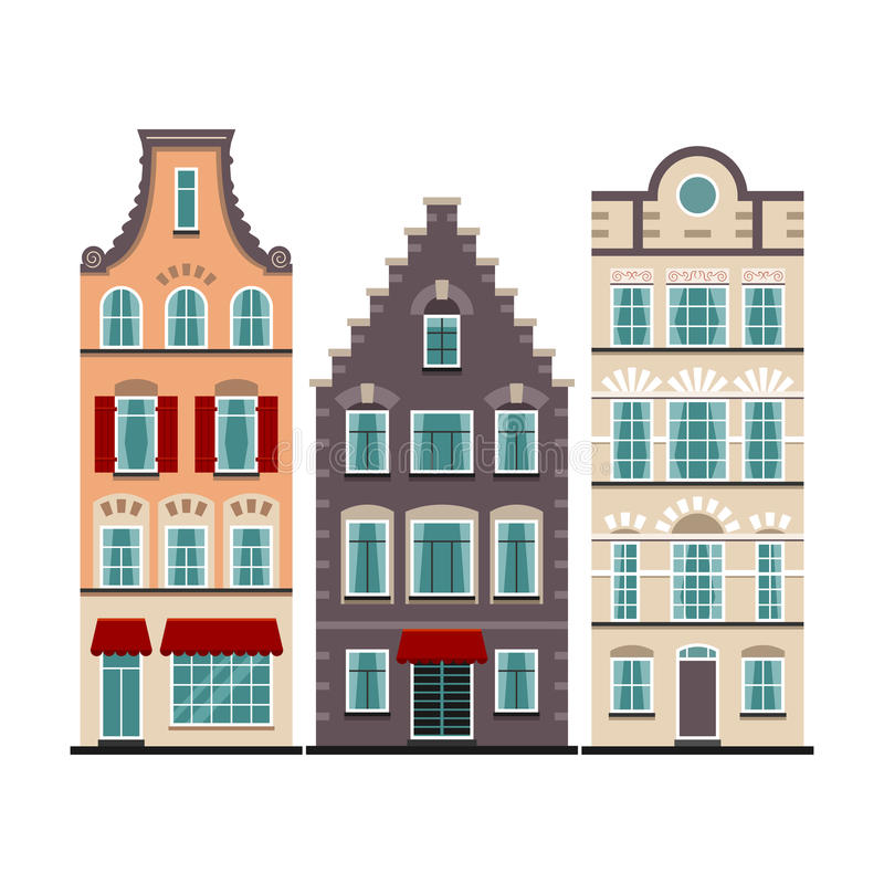 Set of 3 Amsterdam old houses cartoon facades. Traditional architecture of Netherlands. Colorful flat isolated illustrations in the Dutch style stock illustration