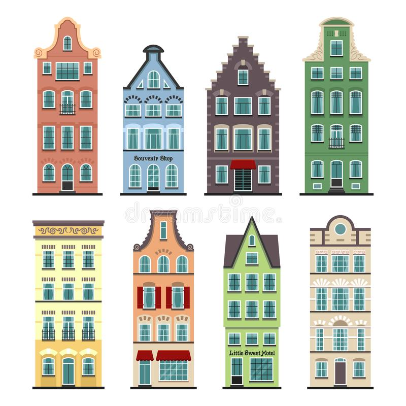 Set of 8 Amsterdam old houses cartoon facades. Traditional architecture of Netherlands. Colorful flat isolated illustrations in the Dutch style royalty free illustration