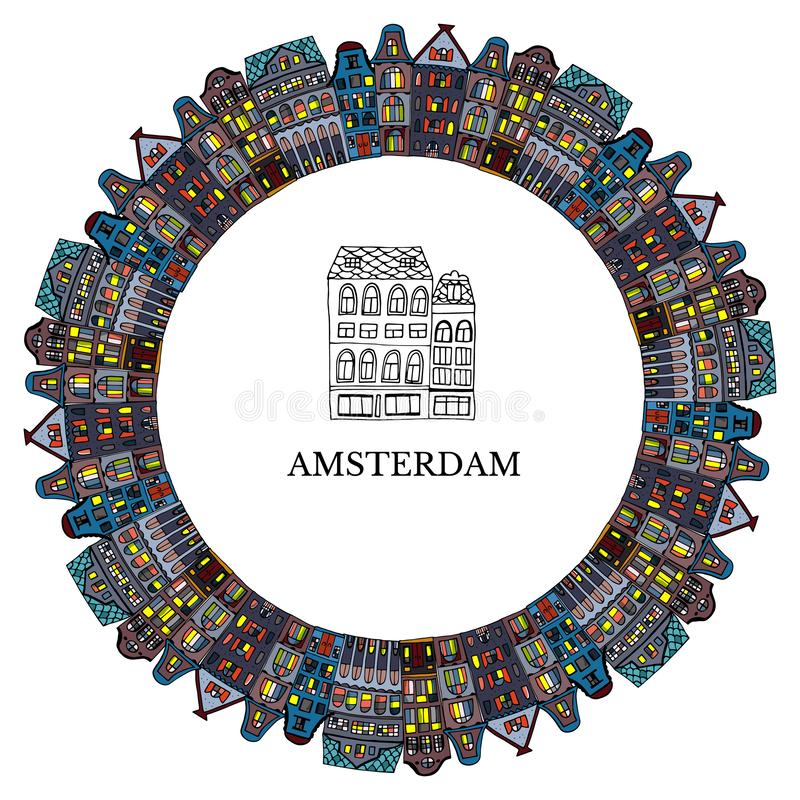 Set Amsterdam old houses cartoon facades. Traditional architecture of Netherlands. Colorful vector illustrations in the Dutch. Style. Postcard.Design wreath of stock illustration