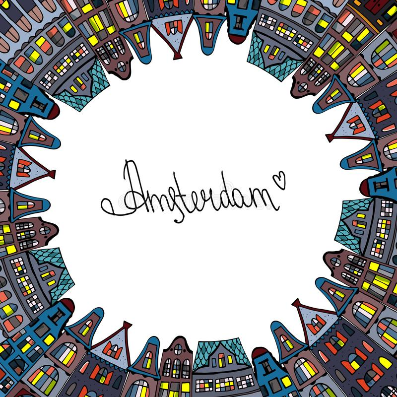 Set Amsterdam old houses cartoon facades. Traditional architecture of Netherlands. Colorful vector illustrations in the Dutch. Style. Postcard.Design wreath of vector illustration