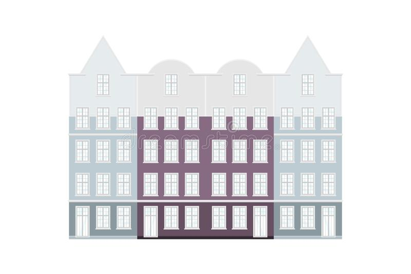 Set of Amsterdam style colored houses. Facades of old buildings of typical view at Netherlands. Flat vector illustration royalty free illustration