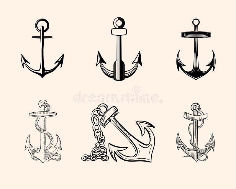 Set of Anchors royalty free stock photos