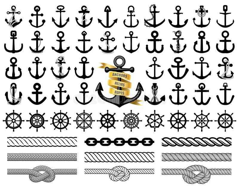 Set of anchors, rudders icons, and ropes. Vector illustration. Set of anchors, rudders icons, seamless ropes and chain. Vector illustration royalty free illustration