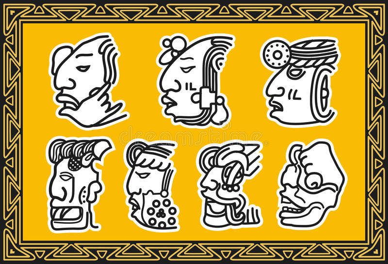 Set of ancient american indian facial patterns