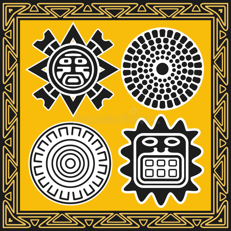 Download Set Of Ancient American Indian Sun Patterns Stock Vector - Image: 17598642