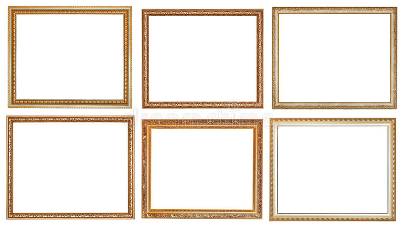 Set of ancient classic wooden picture frames stock photography
