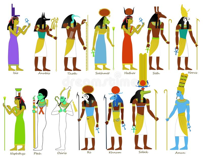 A set of Ancient Egyptian gods. An illustration set of Ancient Egyptian gods and goddesses