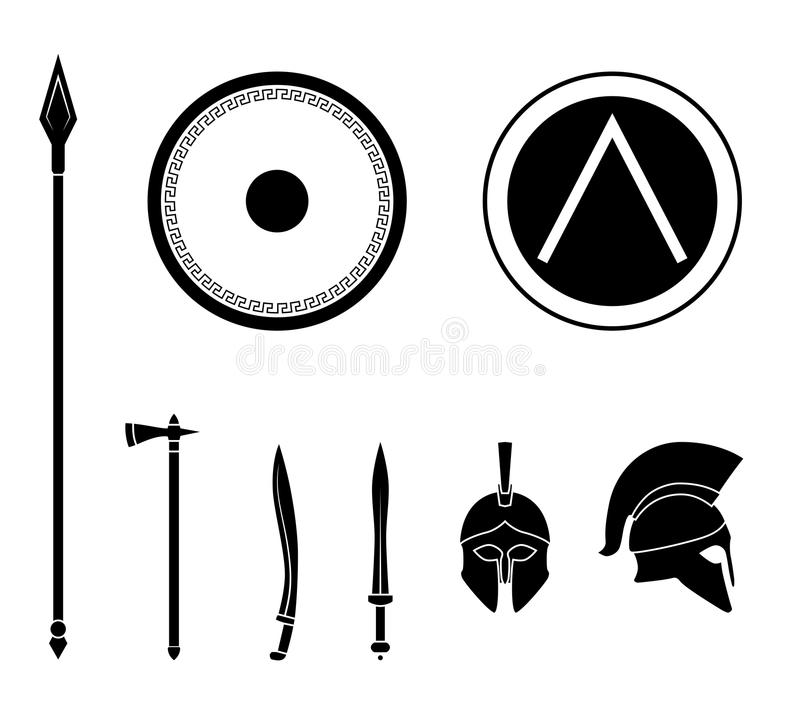 Set Of Ancient Greek Spartan Weapon And Protective Equipment Stock