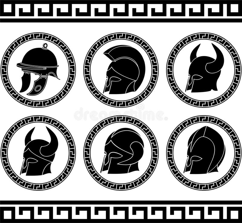 Download Set of ancient helmets stock vector. Image of isolated - 29747354