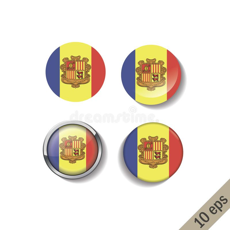 Set of ANDORRA flags round badges. Vector illustration. 10 eps royalty free illustration