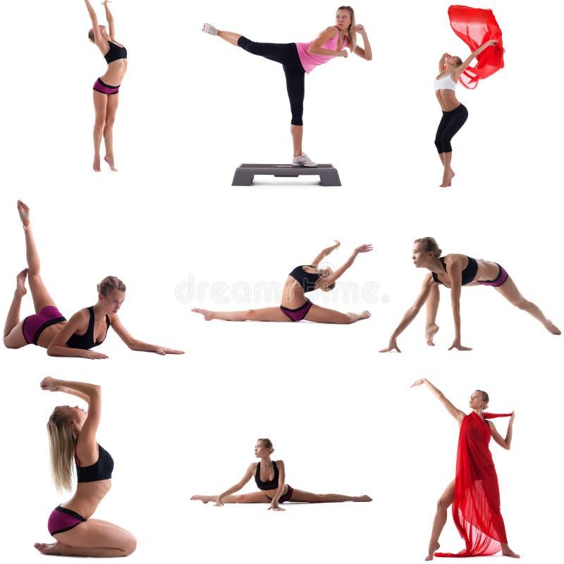 Set angażujący w aerobikach dziewczyna Odizolowywający na bielu fotografia stock