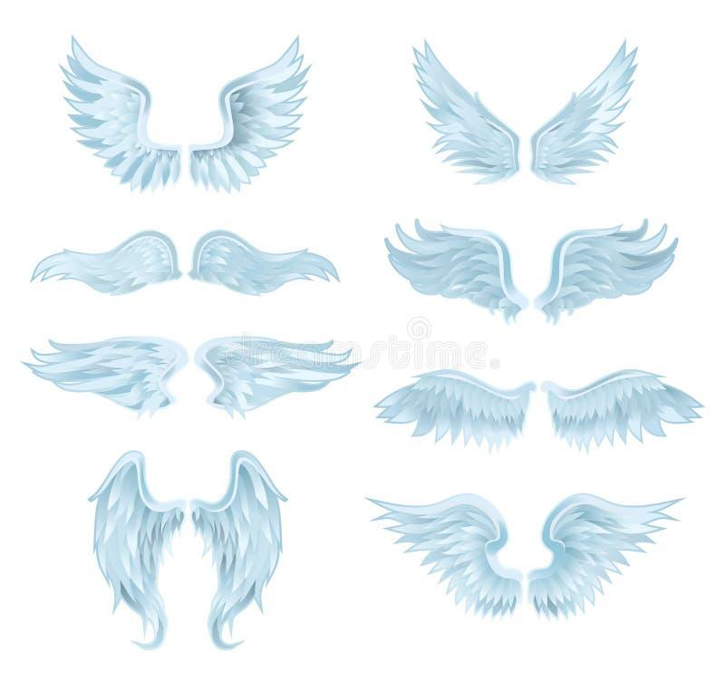 Set of angel wings isolated on white background. Vector illustration stock illustration