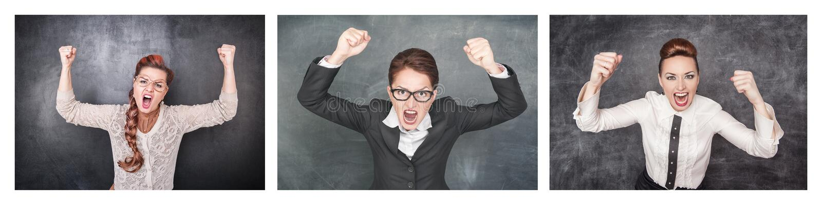 Set of Angry screaming woman on the blackboard stock photo