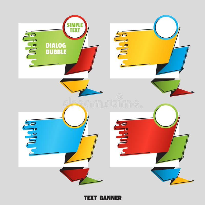 Set of angular text banner. Flat line art style. Bright colorful paper origami speech bubble royalty free illustration