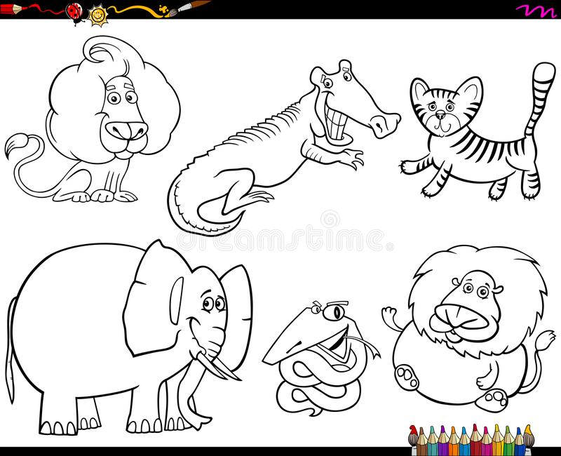 Set of animal characters color book. Black and White Coloring Book Cartoon Illustration of Wild Animal Characters Collection royalty free illustration
