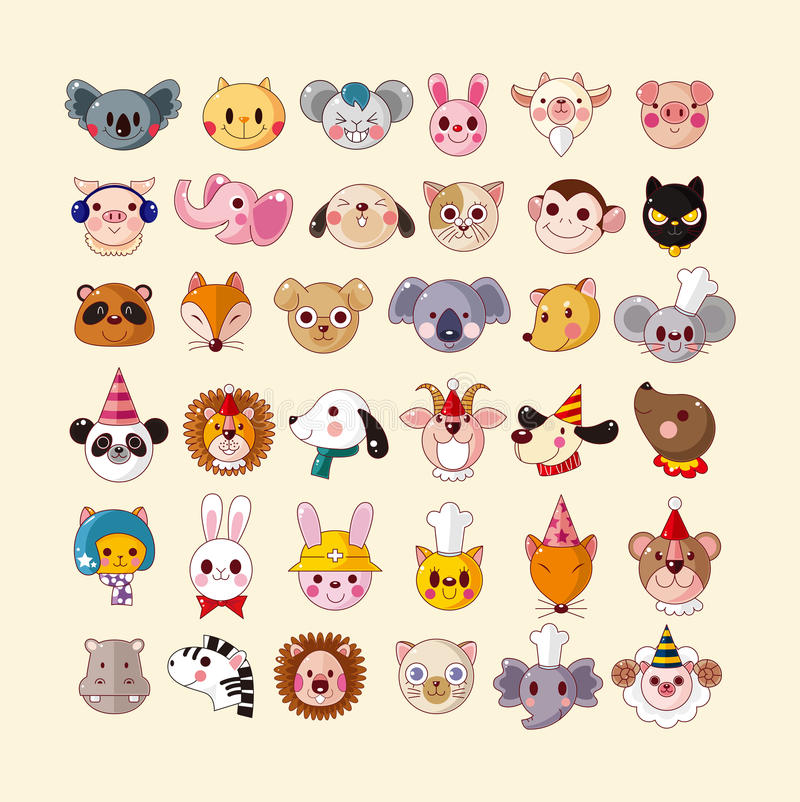 Set Of Animal Face Icons Royalty Free Stock Image