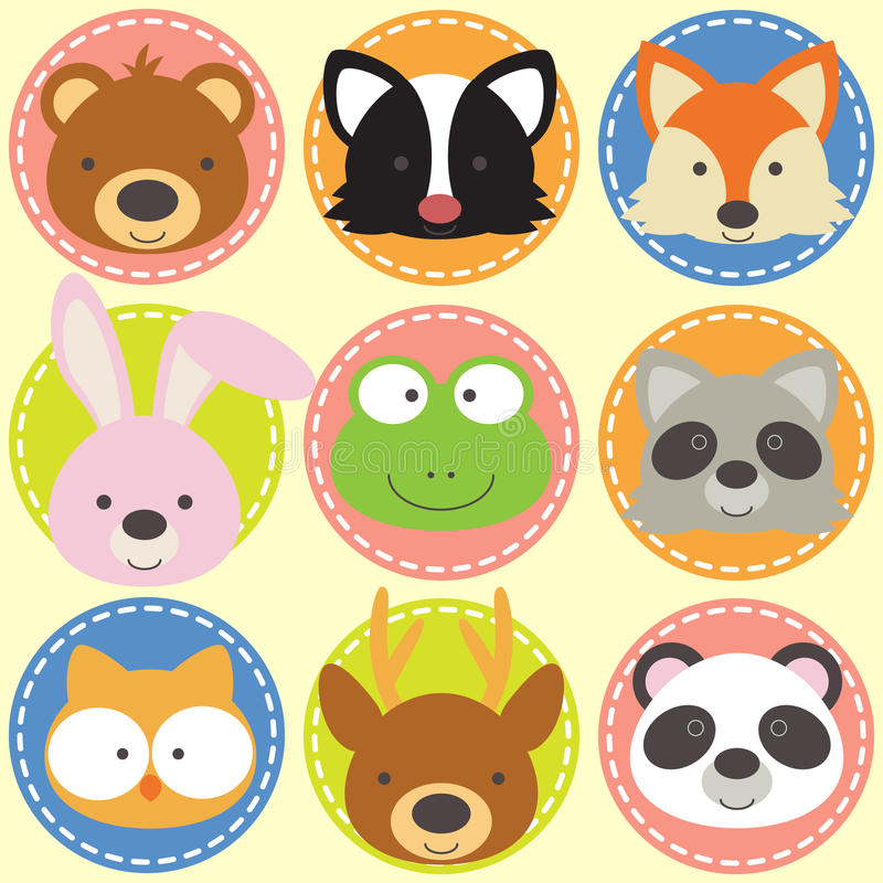 Set of animal faces. Forest animals