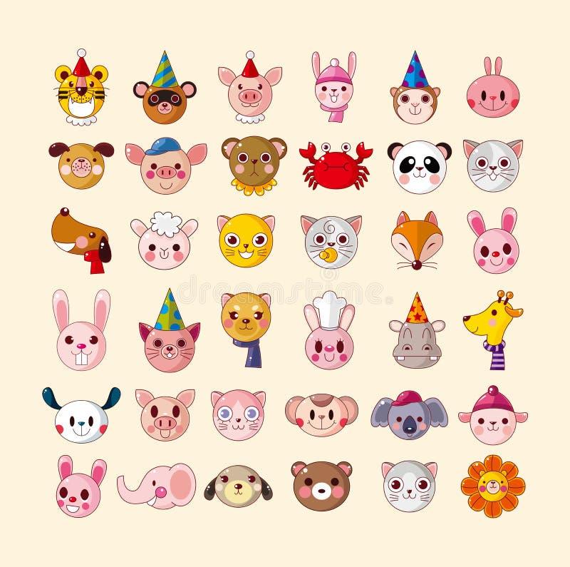 Set Of Animal Head Icons Stock Photography